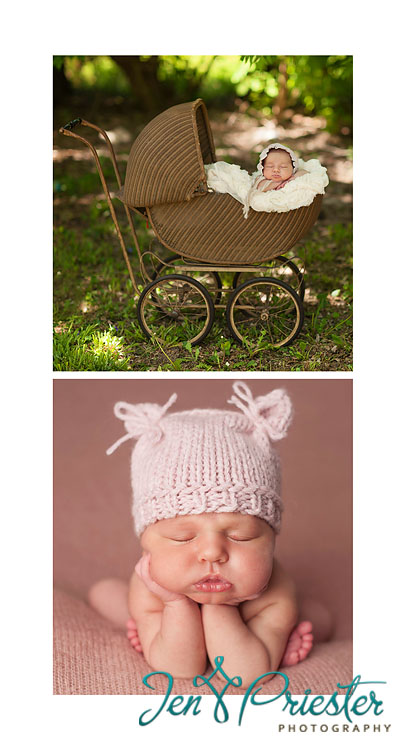 newborn froggy pose antique baby carriage canton mi newborn photographer